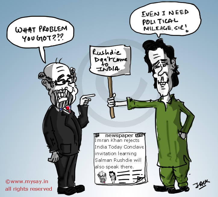 salman rushdie cartoon,imran khan cartoon,india today conclave,mysay.in