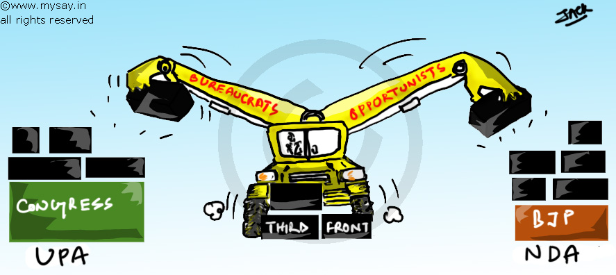 third front,nda,upa,mysay.in,political cartoon,2014 general election