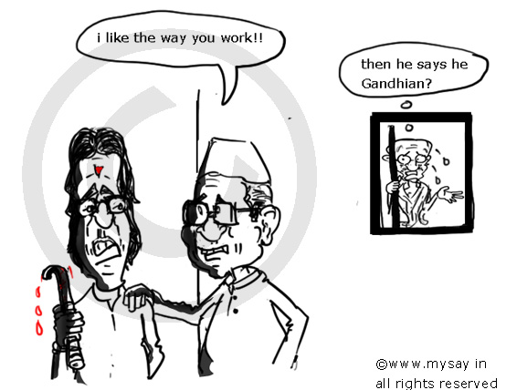 anna hazare cartoon,raj thackeray cartoon,anna praises raj,political cartoon,mysay.in,