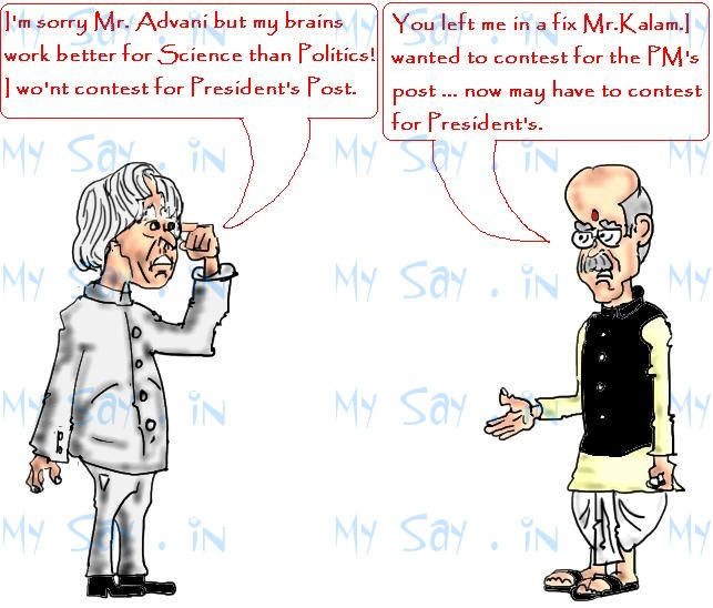 Dr APJ Kalam cartoon , president poll,advani cartoon image,mysay.in,political cartoons,