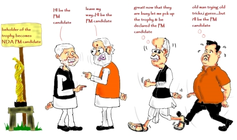 modi cartoon,nda pm candidate 2014,gadkari cartoon,nitish kumar cartoon,advani cartoon,bjp cartoon,mysay.in,political cartoons,