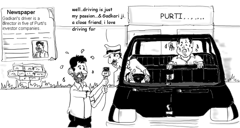 nitin gadlari cartoon image,nitin gadkari driver,purti industries,political cartoons,scams,mysay.in