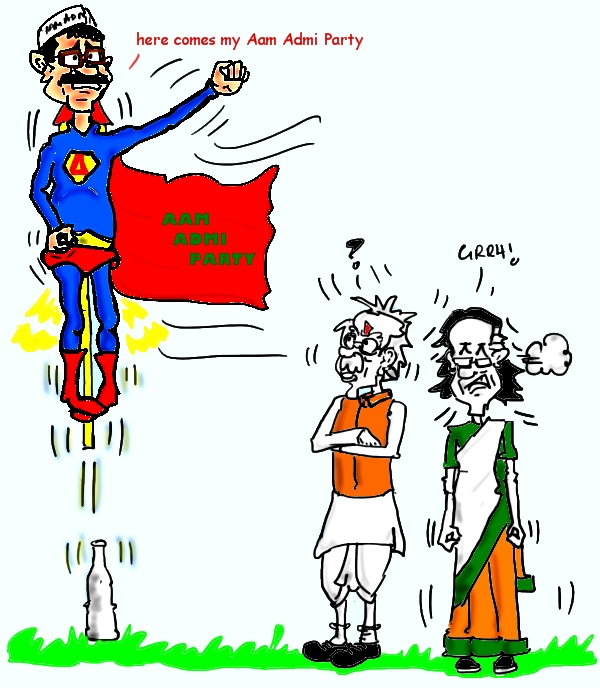 AAP cartoon,arvind kejriwal cartoon image,superman cartoon,mysay.in,political cartoons,