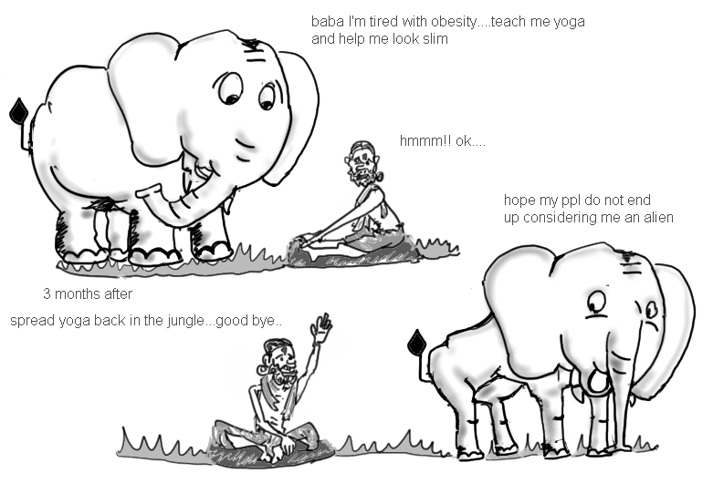 baba ramdev cartoon, elephant cartoon , yoga cartoon, funny jokes picture image,