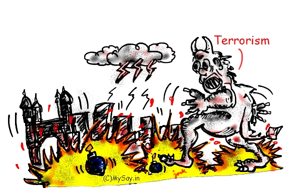 terrorism,bomb blasts,terrorism cartoon,bomb blasts cartoon,mysay.in,cartoon on terror attacks,