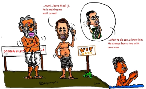 modi cartoon image,rahul gandhi cartoon image,mulayam singh cartoon image,maha kumbh mela,