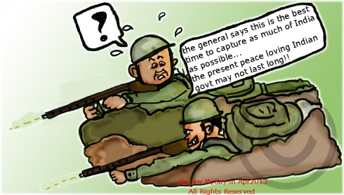 indo china border dispute,mysay.in,chinese entering india cartoon,