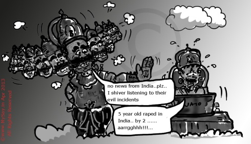 delhi rape,ravana cartoon image,mysay.in,5 year old rape