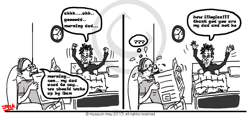 wake up early joke,early to rise,good morning joke,mysay.in,gags,cartoon