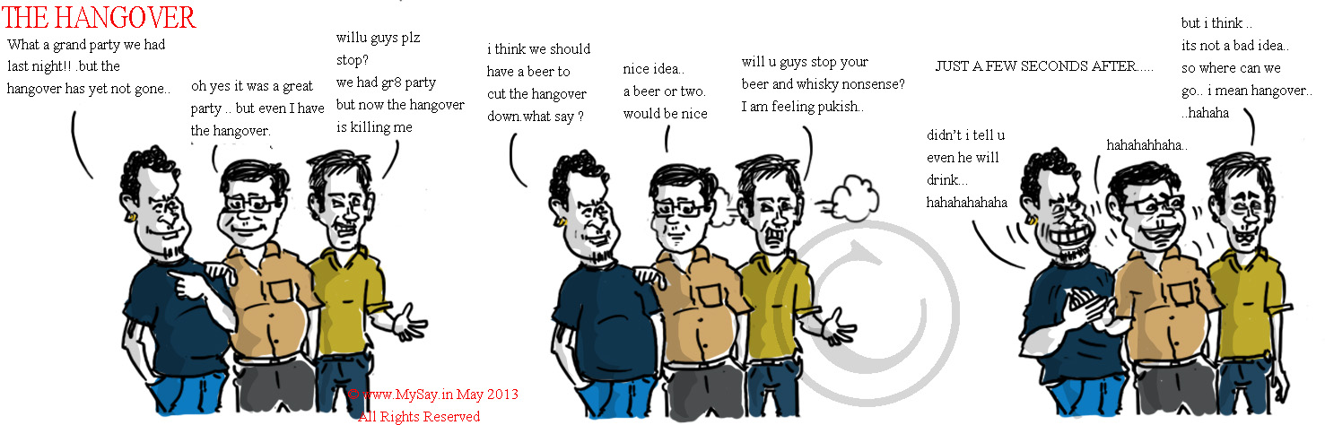 hangover,drinking,beer,whisky,cartoon,joke,mysay.in