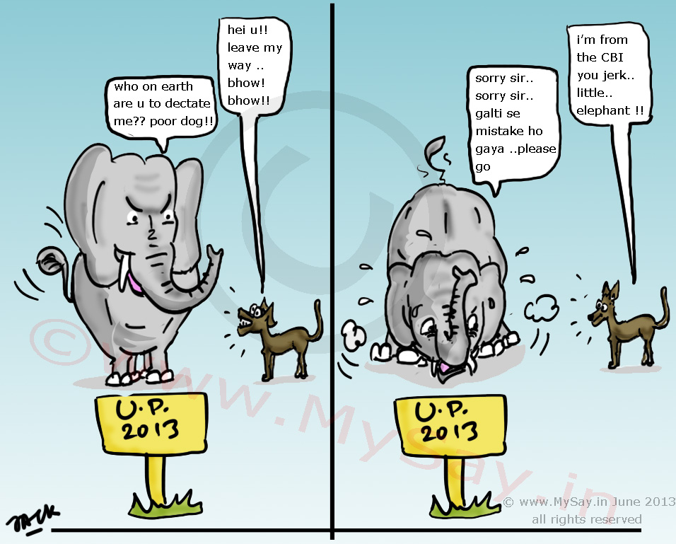 elephant,dog,bsp,cbi,up,politics,cartoon,mysay.in