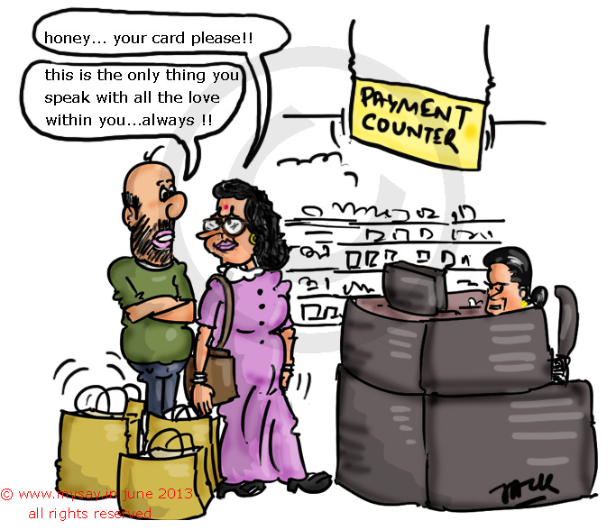 husband wife jokes,credit card jokes,billing counter,mysay.in,cartoons