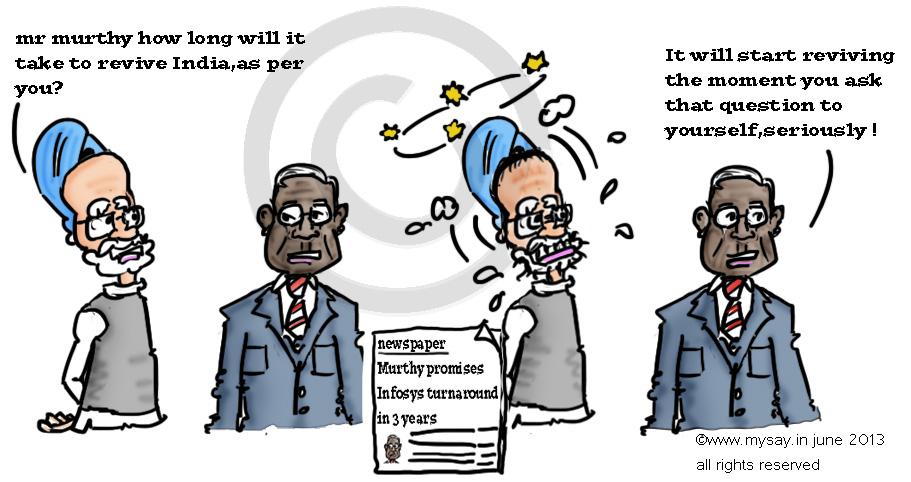 infosys,n.murthy,narayana murthy,manmohan singh,mysay.in,cartoons,