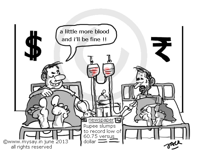 rupee reaches new low,rupee cartoon,dollar cartoon,mysay.in