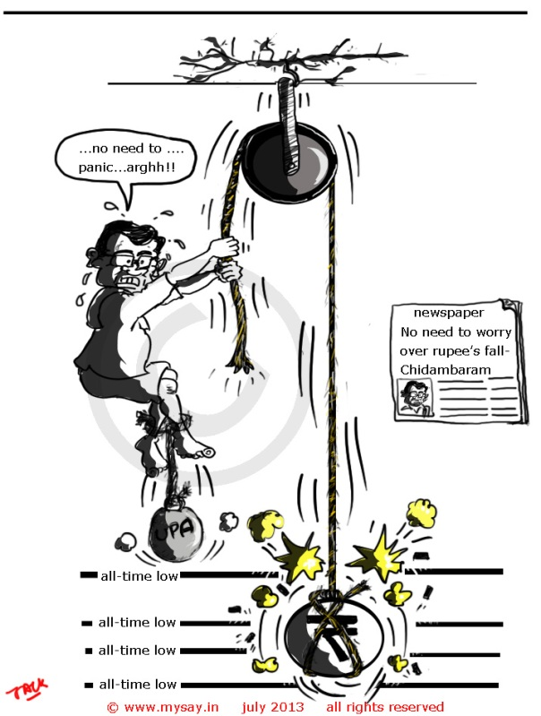 p chidambaram cartoon,rupee fall cartoon,inr,mysay.in,political cartoon,