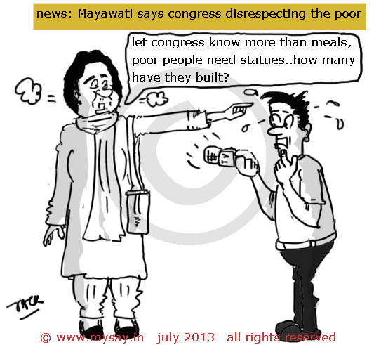 mayawati cartoon,meal rs 5 , journalist cartoon,political cartoons,mysay.in