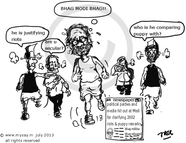 narendra modi cartoon,bhag milkha bhag cartoon,puppy analogy,mysay.in,political cartoons