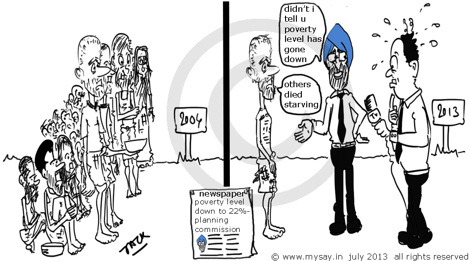 montek singh ahluwalia,planning commission,poverty line to 22 percent,political cartoon,mysay.in