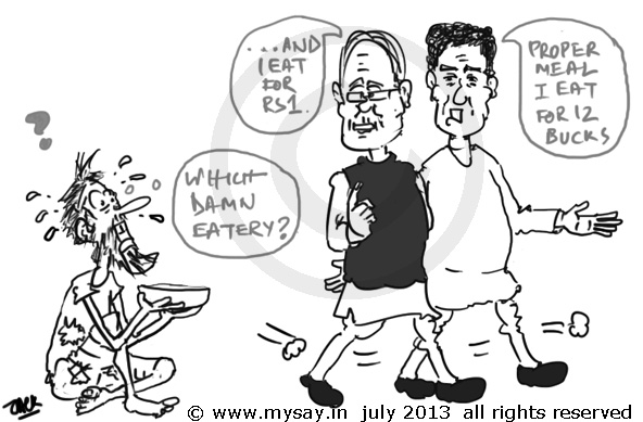 farooq abdullah cartoon,raj babbar cartoon,meal for rs 12, meal for 1 rupee,poverty line,political cartoons,mysay.in