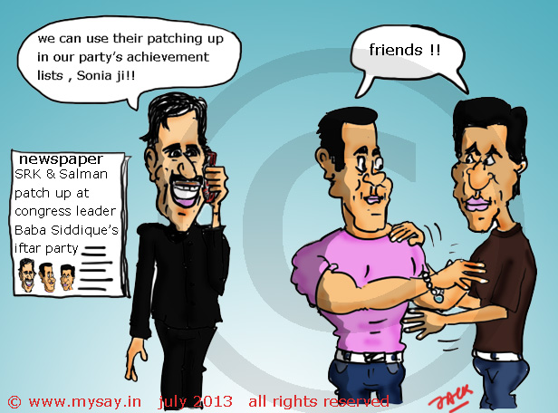 baba siddiqui,salman khan cartoon,shahrukh khan cartoon,bollywood cartoon,political cartoon,mysay.in,