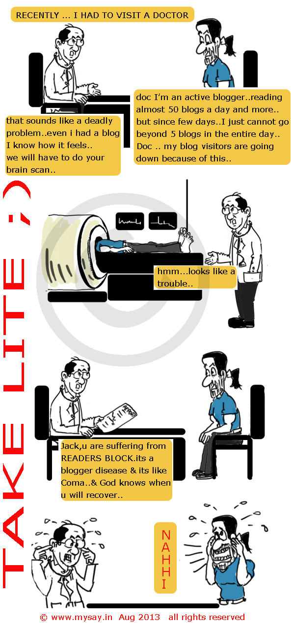 blogging cartoon,blog reading,ct scan cartoon,indiblogger.in,mysay.in,just for gag,