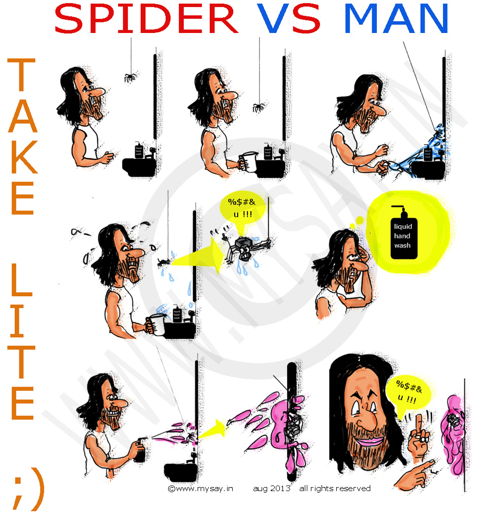 take lite comic strip,mysay.in,indian comic strip,spider vs man cartoon,spiderman cartoon,just for gag, cartoon jokes,