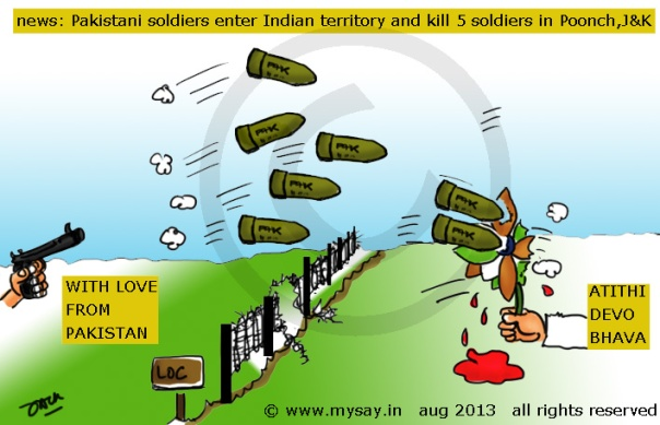 loc cartoon,indo pak border dispute,pakistani soldiers kill 5 indian soldiers,mysay.in,political cartoon,