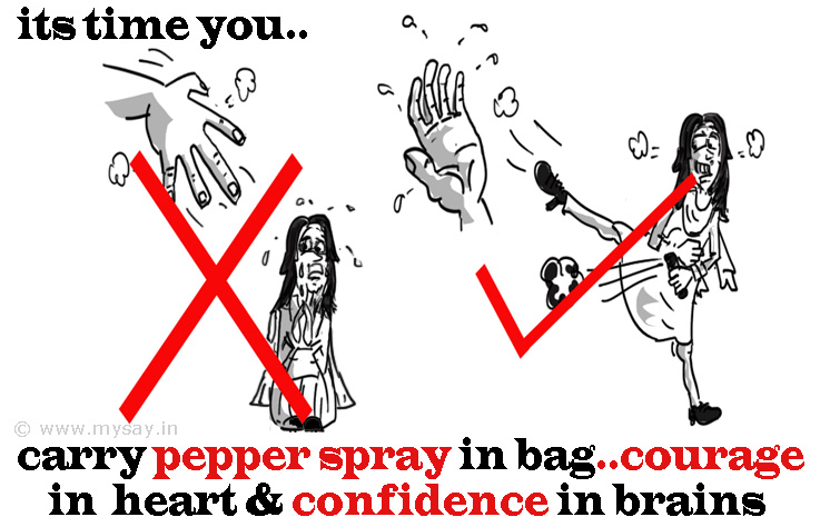crime against woman image,stop rape image,pepper spray cartoon image,social message picture image, mysay.in
