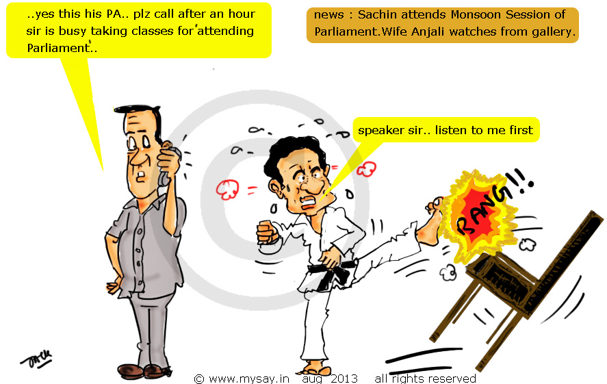 sachin tendulkar cartoon,parliament cartoon,political cartoon sachin in parliament,mysay.in