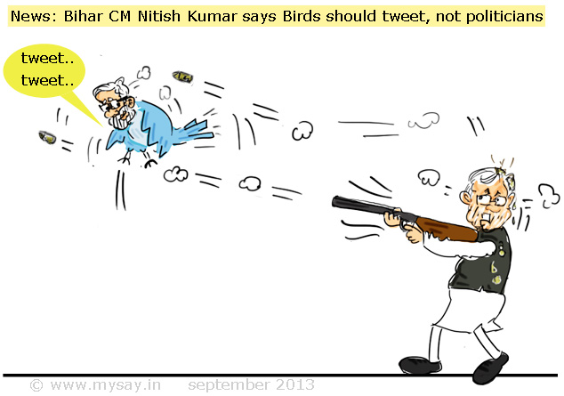 political cartoon picture image,modi cartoon,tweeter cartoon,nitish kumar cartoon,mysay.in