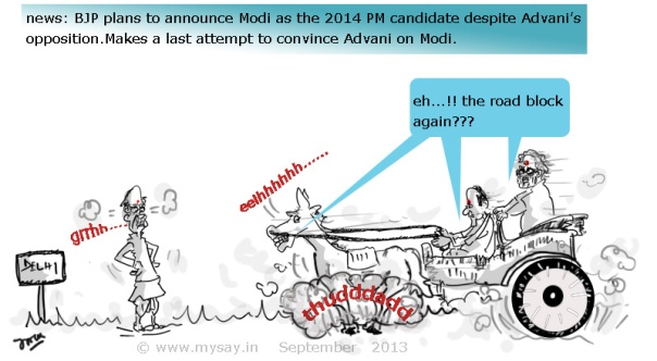 cartoon on bjp plans to announce modi as pm candidate,advani cartoon picture image,rajnath singh cartoon picture image,modi cartoon picture image,mysay.in,political cartoon,