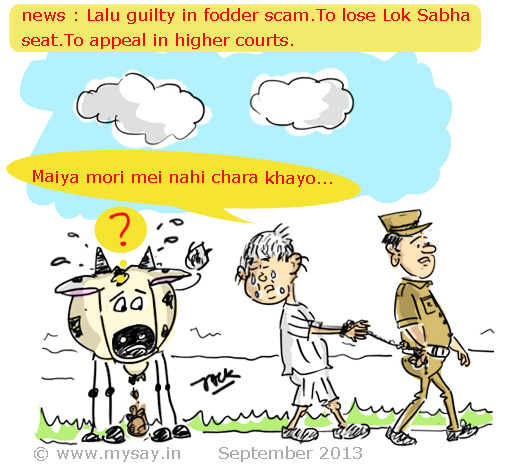 fodder scam,lalu yadav cartoon,funny picture image,lalu guilty,mysay.in,political cartoon,