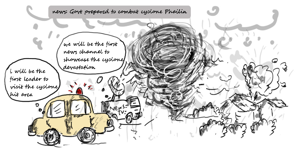 cyclone in India,cyclone phailin,breaking news funny,political cartoons,mysay.in,