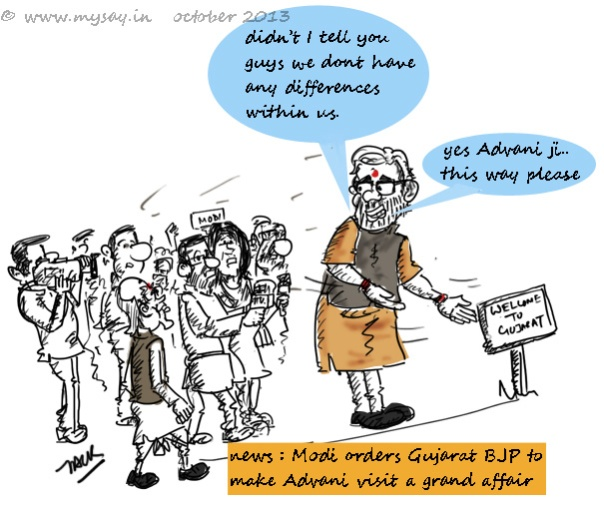 modi funny cartoon,advani cartoon,bjp cartoon,mysay.in,political cartoons,