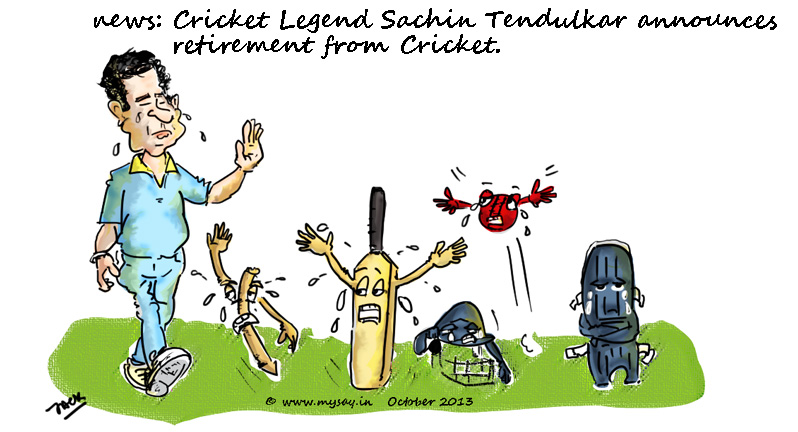 tendulkar cartoon picture image,tendulkar retires,criket cartoon,mysay.in,
