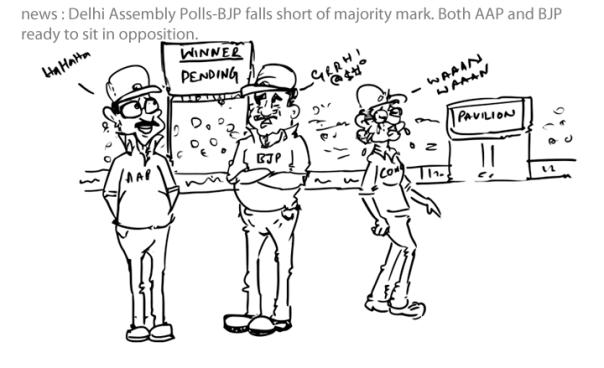 Delhi assembly polls,bjp cartoon,aap cartoon,congress cartoon,mysay.in,