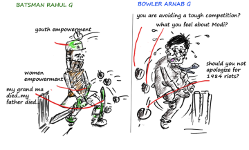 rahul gandhi funny cartoon,frankly speaking with arnab goswami,arnab goswami cartoon,political cartoons,mysay.in,
