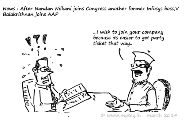infosys,v balakrishnan joins aap,nandan nilekani joins congress,political cartoons,mysay.in,