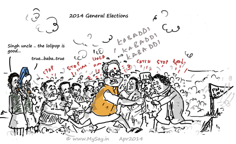 2014 General Elections,Modi vs all,kabaddi cartoon,mysay.in,mayawati vs modi,congress vs modi,