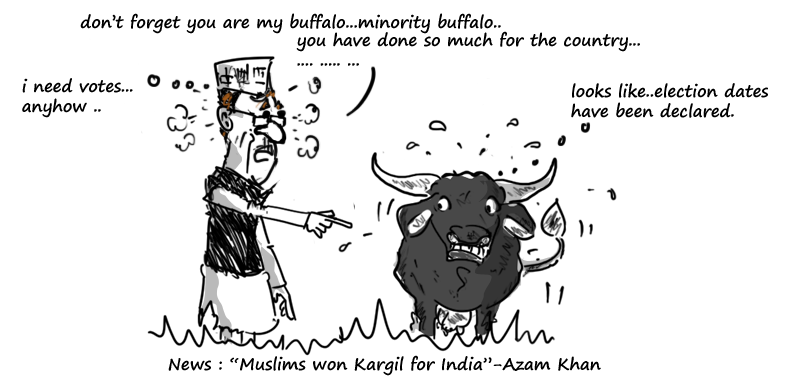 azam khan cartoon on muslim won kargil,mysay.in,political cartoons,