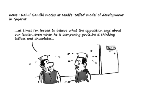 toffe model of development,rahul gandhi jokes,modi jokes,mysay.in,political cartoons 2014,