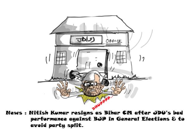 nitish kumar cartoon, 2014 general elections,