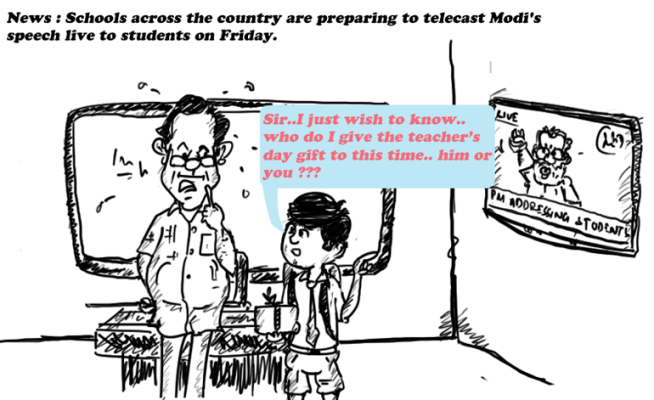 modi cartoon, teachers day modi speech,mysay.in, cartoon on indian politics