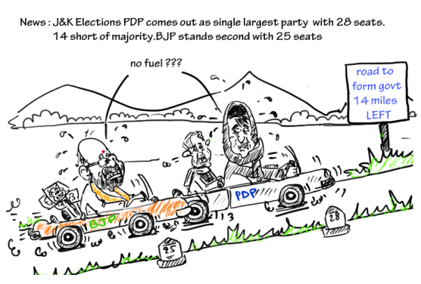 J&K election cartoon 2014,mysay.in,mehbooba mufti cartoon, amit shah cartoon,