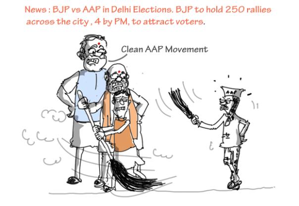 swachh bharat abhiyan jokes, aap vs bjp cartoon, delhi 2015 election cartoons, mysay.in,
