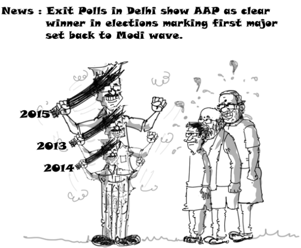 modi cartoon,bedi cartoon,amit shah cartoon,Delhi elections 2015, kejriwal cartoon, modi wave cartoon,political cartoons,
