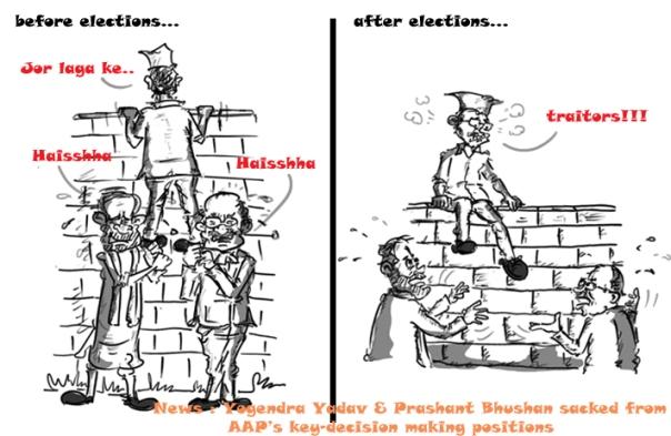 prashant bhushan cartoon, yogendra yadav cartoon, kejriwal cartoon,