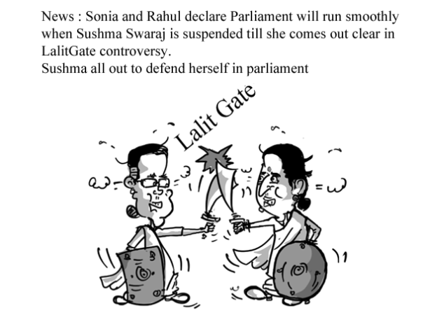 sonia gandhi vs sushma swaraj cartoon