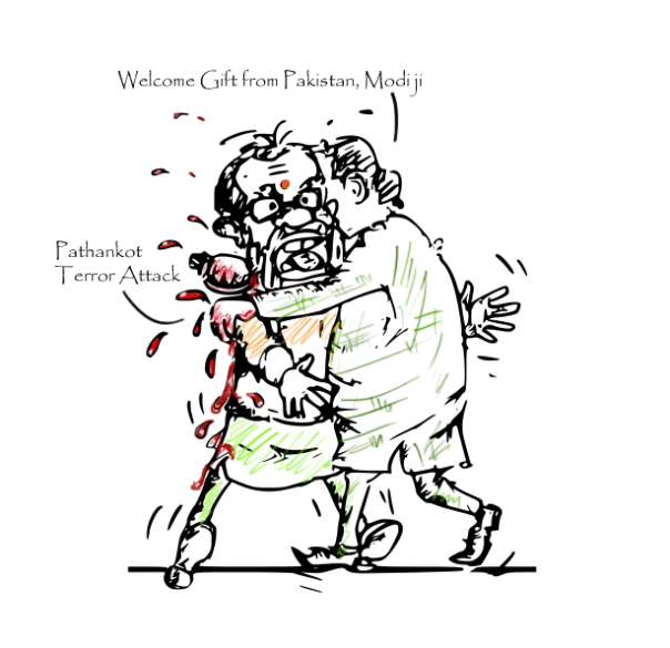 pathankot terrorists attack, modi cartoon, nawaz sharif cartoon