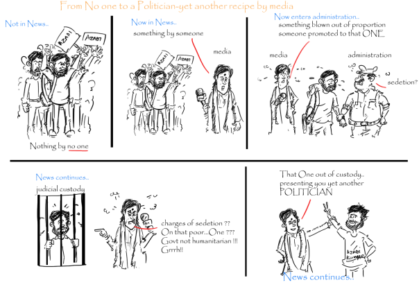 kanhaiya kumar cartoon, jnu controversy,barkha dutt cartoon,